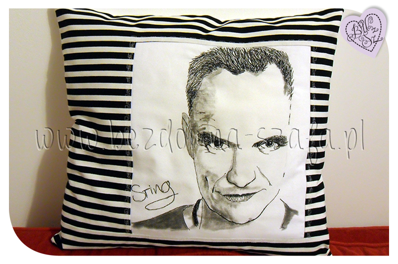 Sting, pillow, needle paint, poduszka, malowane igłą