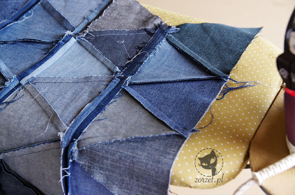 narzuta, dżins recykling, jeans recycling, trójkąty, prasowanie
