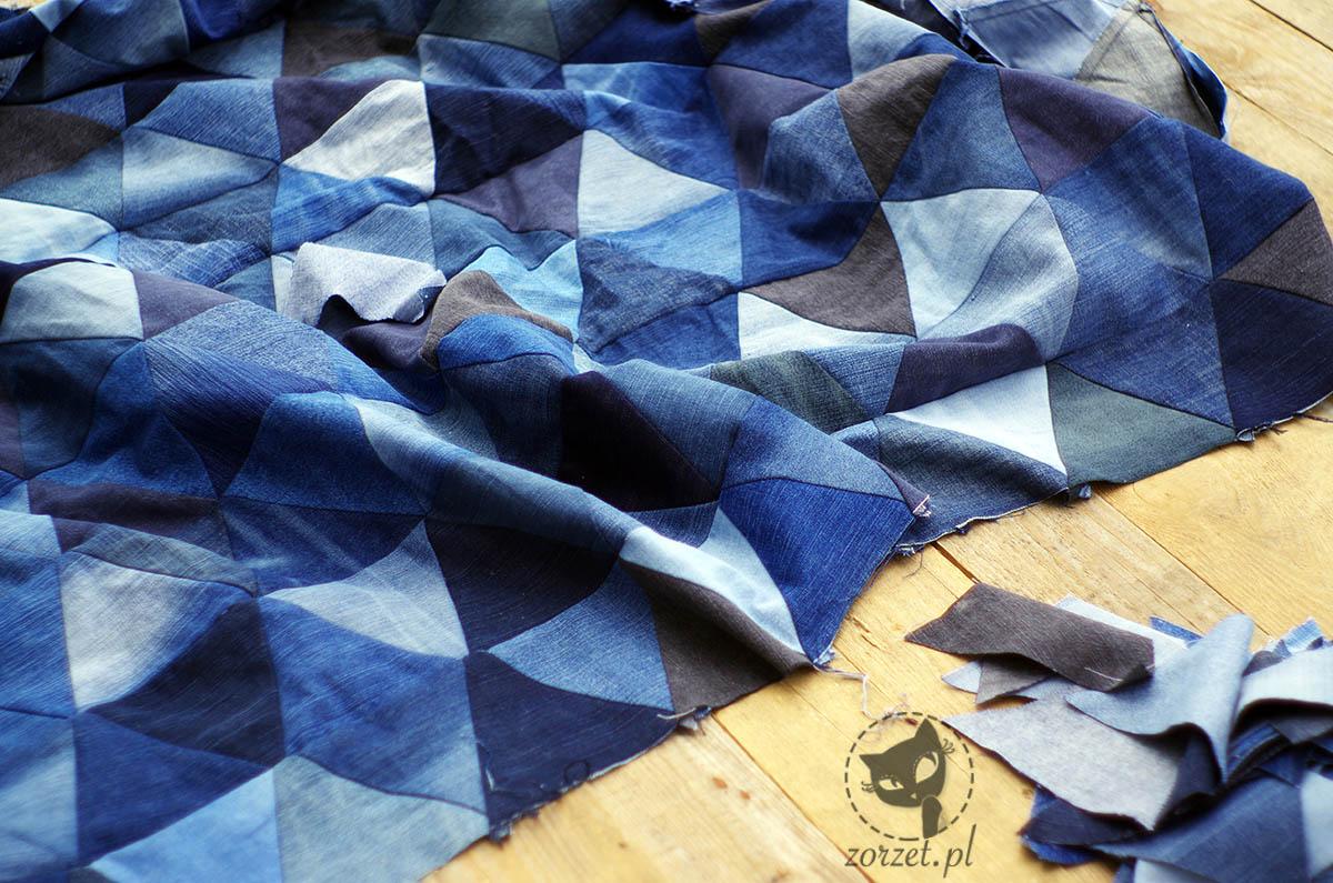 narzuta, dżins recykling, jeans recycling, trójkąty