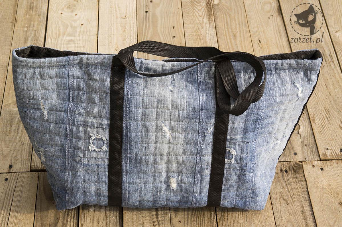 nogawki, torba dżins recykling, jeans bag recycling, przód