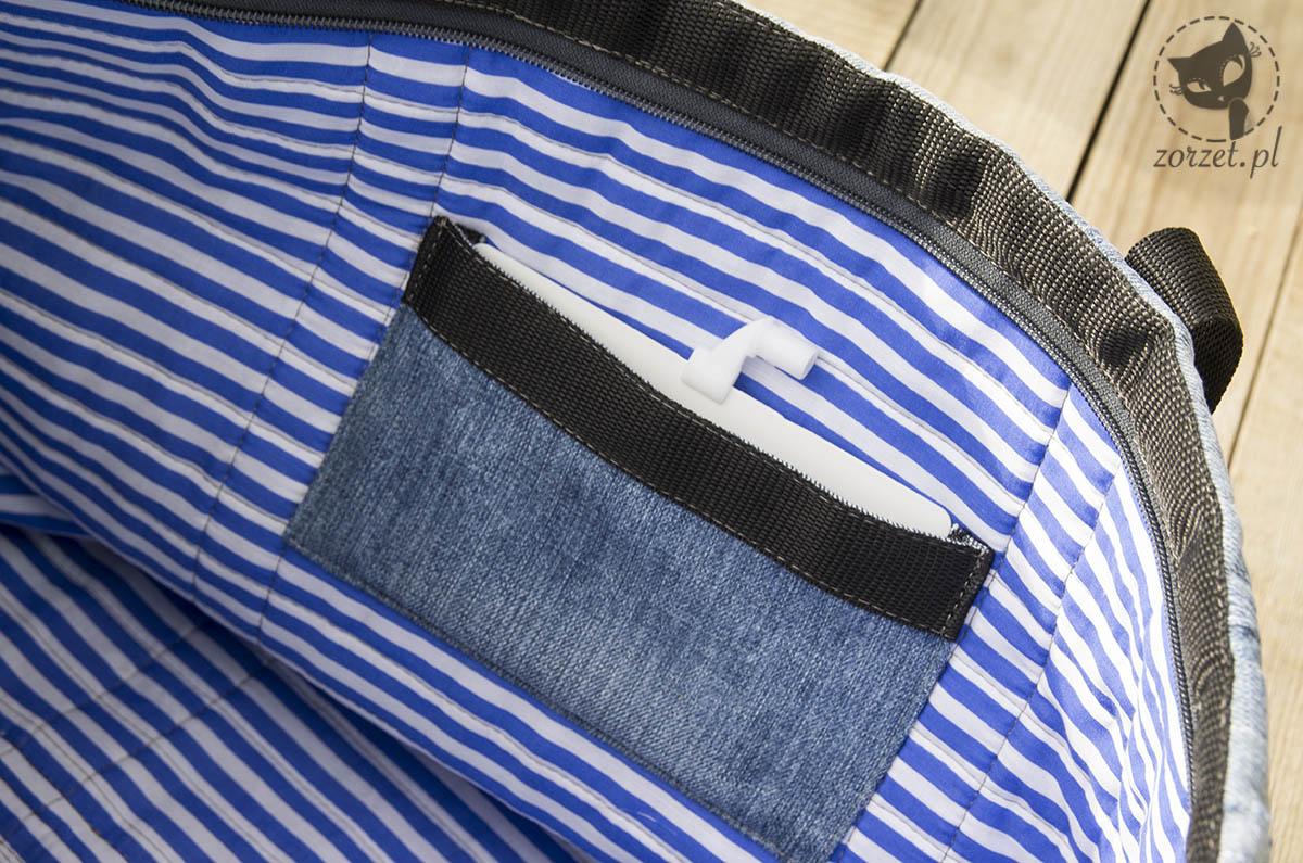 nogawki, torba dżins recykling, jeans bag recycling, wnętrze mała kieszeń