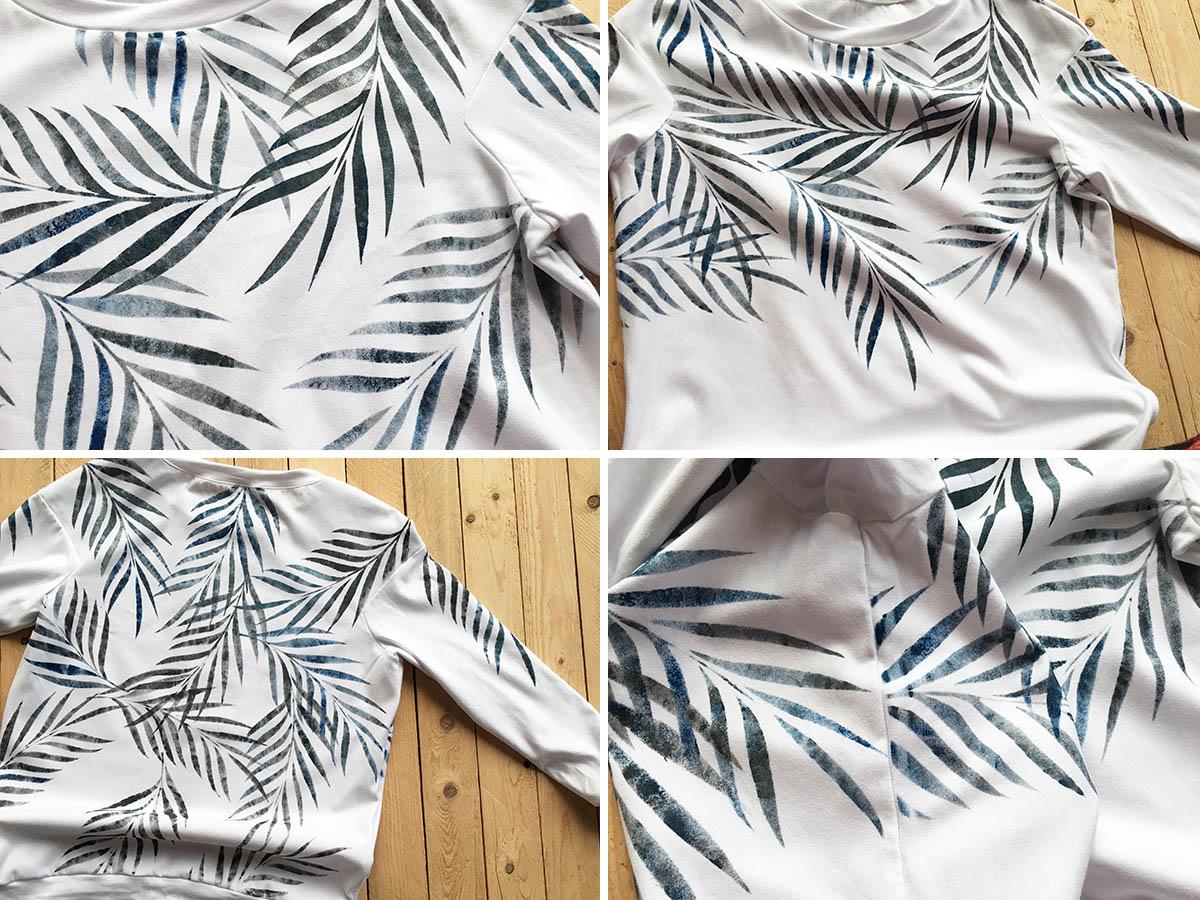 bluzka dresowa malowana w liście palmy