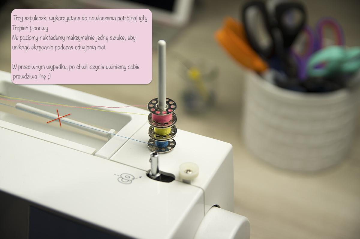 Nawlekanie maszyny igła potrójna - szpuleczki