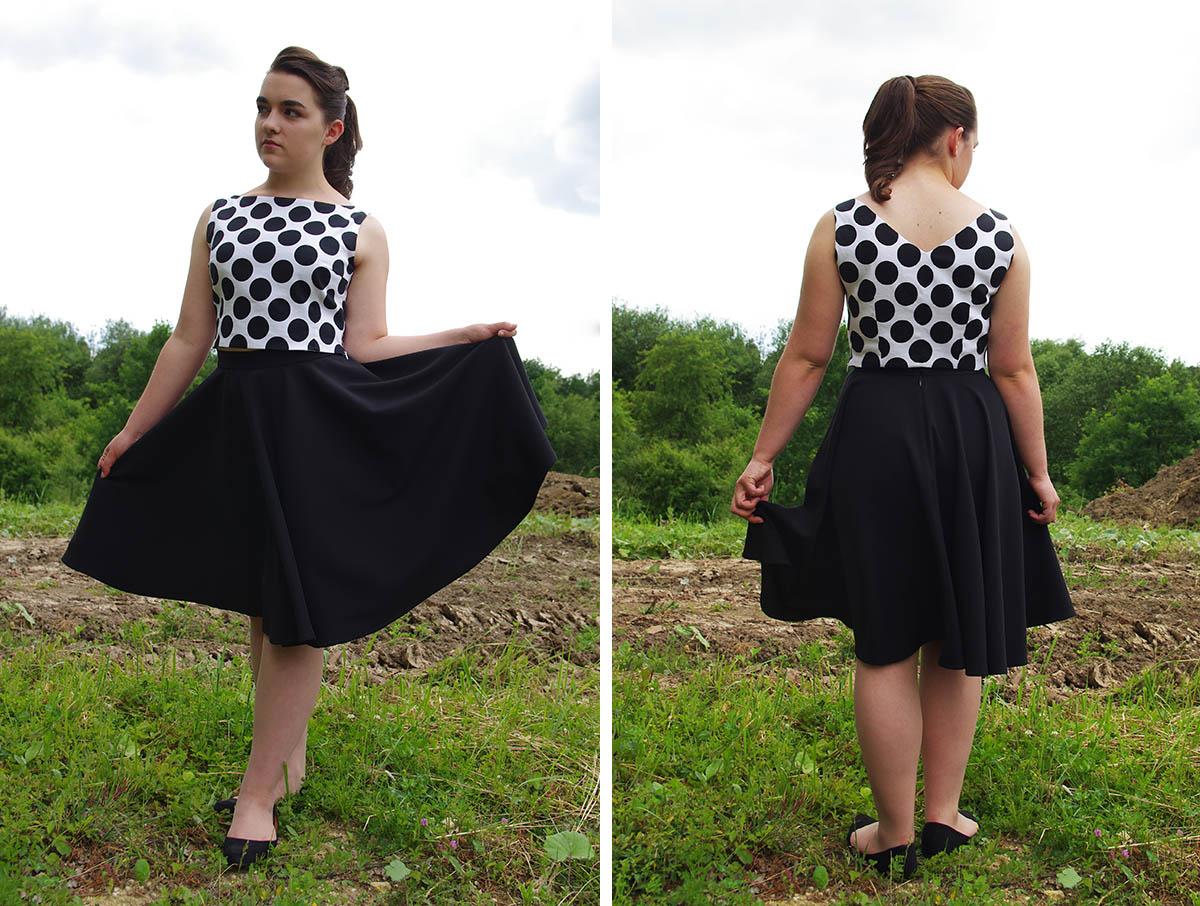 Sukienka w stylu retro, spódnica z koła